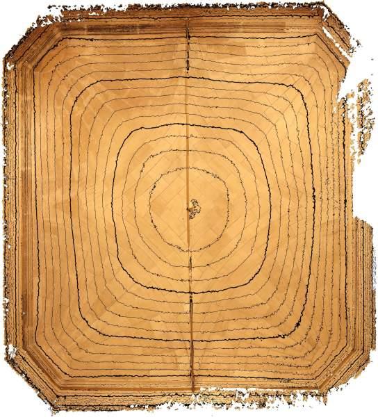 Lignes de niveaux (Delta h=0.05\,m) de la voûte de vestibule de musée Calvet à Avignon