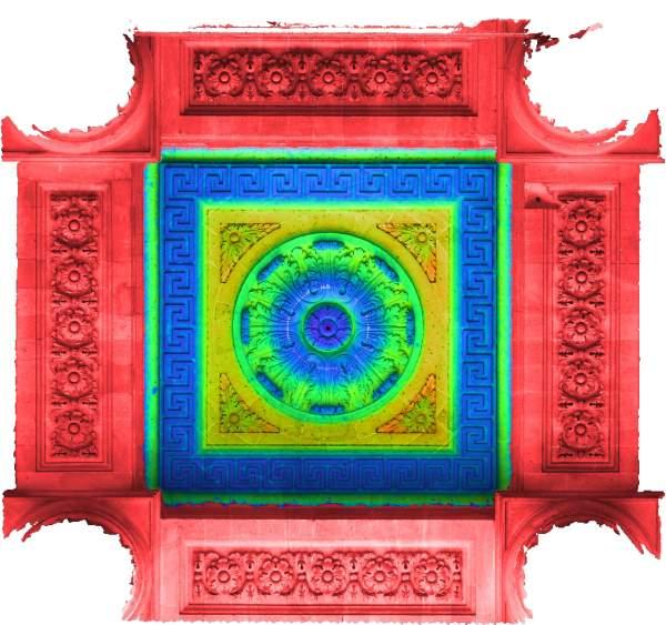 Superposition de l'orthophoto avec une carte de profondeur couleur de la voûte de porche de église Saint-Sulpice à Paris