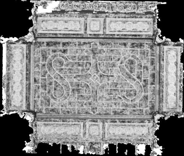 Carte de corrélation de la voûte de travée centrale de la tribune d'orgue de église Saint-Sulpice à Paris