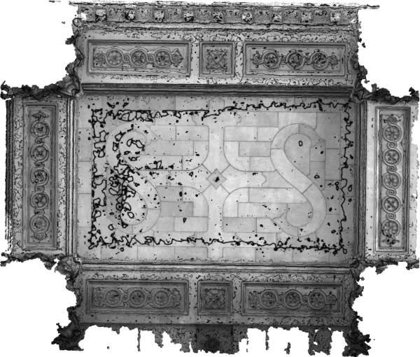 Lignes de niveaux (Delta h=0.03\,m) de la voûte de travée centrale de la tribune d'orgue de église Saint-Sulpice à Paris