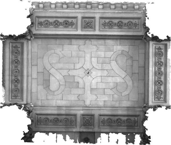 Orthophotographie de la voûte de travée centrale de la tribune d'orgue de église Saint-Sulpice à Paris
