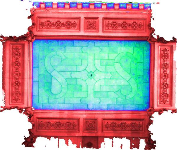 Superposition de l'orthophoto avec une carte de profondeur couleur de la voûte de travée centrale de la tribune d'orgue de église Saint-Sulpice à Paris