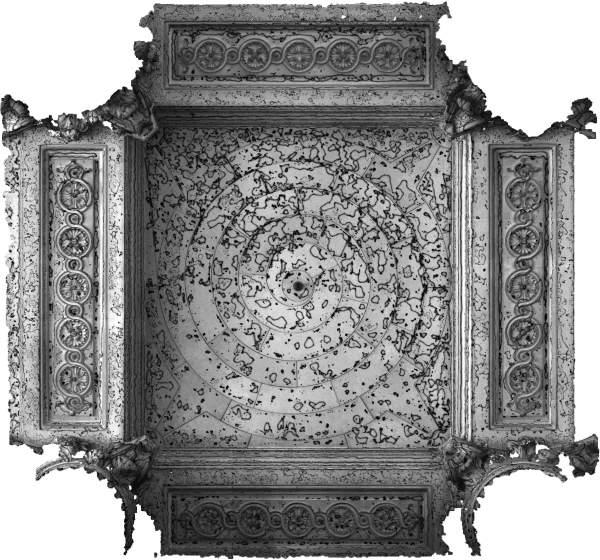 Lignes de niveaux (Delta h=0.03\,m) de la voûte de travée sud de la tribune d'orgue de église Saint-Sulpice à Paris
