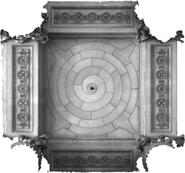 Orthophotographie de la voûte de travée sud de la tribune d'orgue de église Saint-Sulpice à Paris