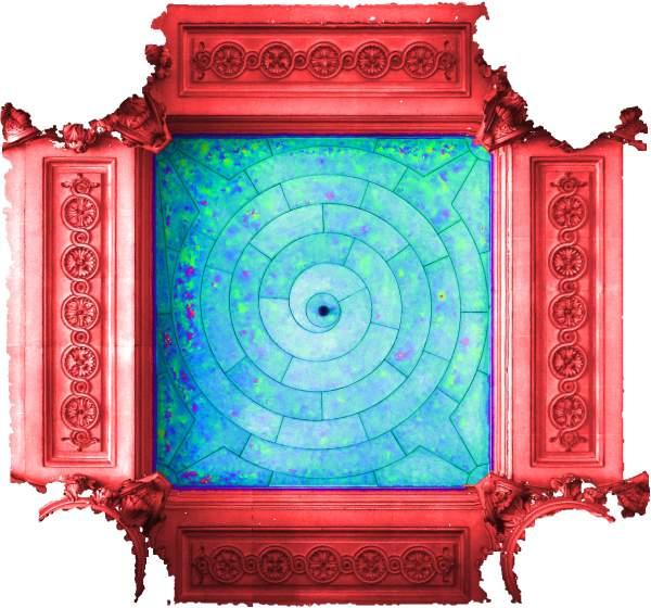 Superposition de l'orthophoto avec une carte de profondeur couleur de la voûte de travée sud de la tribune d'orgue de église Saint-Sulpice à Paris