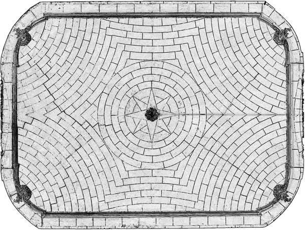 Orthophotographie avec extraction automatique des contours de la voûte de grand salon de château à Barbentane