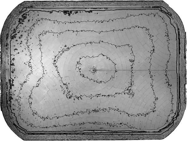 Lignes de niveaux (Delta h=0.04\,m) de la voûte de grand salon de château à Barbentane