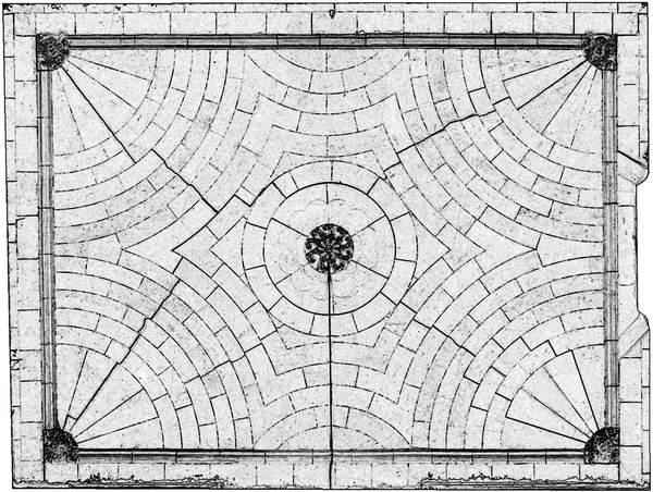Orthophotographie avec extraction automatique des contours de la voûte de aile orientale de château à Barbentane