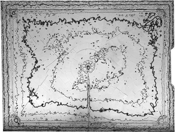 Lignes de niveaux (Delta h=0.02\,m) de la voûte de aile orientale de château à Barbentane