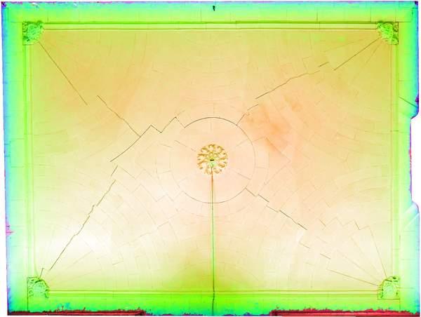 Superposition de l'orthophoto avec une carte de profondeur couleur de la voûte de aile orientale de château à Barbentane