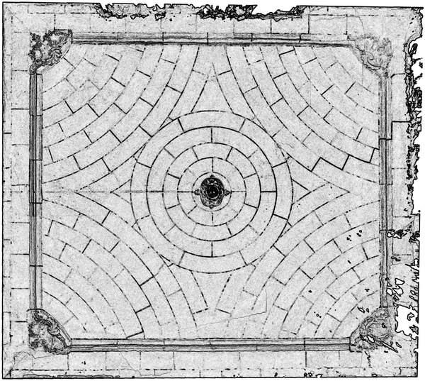 Orthophotographie avec extraction automatique des contours de la voûte de aile occidentale de château à Barbentane