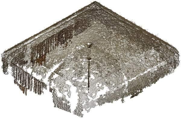 Isométrie contre-plongeante du nuage de point de la voûte de aile occidentale de château à Barbentane