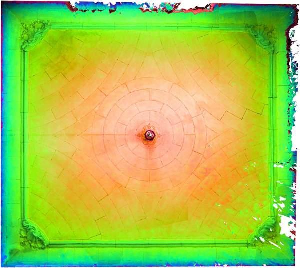 Superposition de l'orthophoto avec une carte de profondeur couleur de la voûte de aile occidentale de château à Barbentane