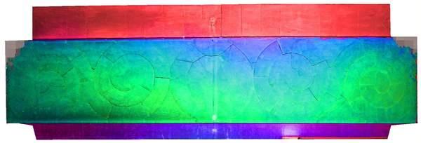 Superposition de l'orthophoto avec une carte de profondeur couleur de la voûte de tribune de la chapelle de Hôtel-Dieu à Carpentras