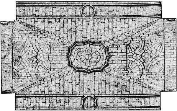 Orthophotographie avec extraction automatique des contours de la voûte de deuxième travée de la nef de cathédrale Saint-Vincent à Viviers
