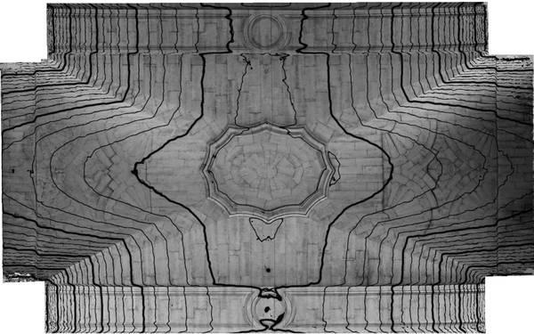 Lignes de niveaux (Delta h=n;c;) de la voûte de deuxième travée de la nef de cathédrale Saint-Vincent à Viviers