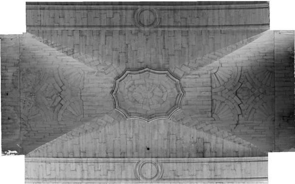 Orthophotographie de la voûte de deuxième travée de la nef de cathédrale Saint-Vincent à Viviers