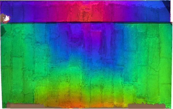 Superposition de l'orthophoto avec une carte de profondeur couleur de la voûte de travée nord de la tribune de église de la ville haute à Vaison-la-Romaine