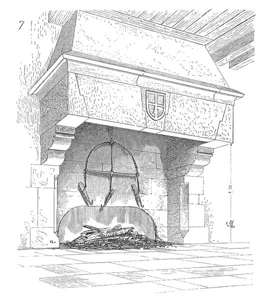 Cheminée, avec hotte soutenue par une platebande sur consoles d'après Viollet-le-Duc