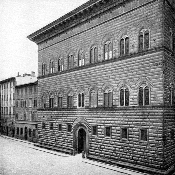 Palais Strozzi à Florence avec corniche imposante avant 1908