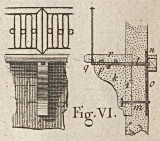 Balcon avec consoles rapportées et ancrées d'après Blondel et Patte 1777