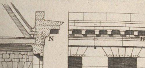 Corniche de la façade d'une maison en pierre de taille d'après Blondel et Patte 1777