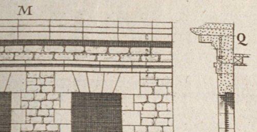 Corniche de la façade d'une maison bâtie en pierre et en moellon d'après Blondel et Patte 1777