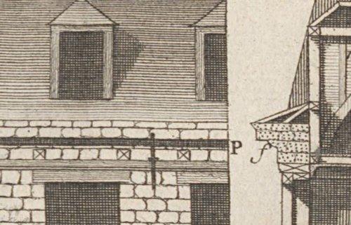 Corniche de la façade d'une maison bâtie en moellon d'après Blondel et Patte 1777