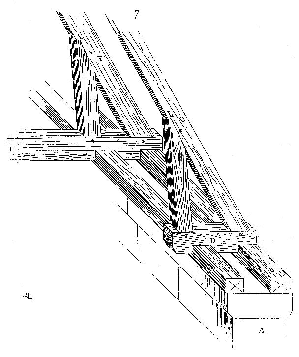 Double cours de sablière d'une charpente à chevrons formant ferme d'après Viollet-le-Duc