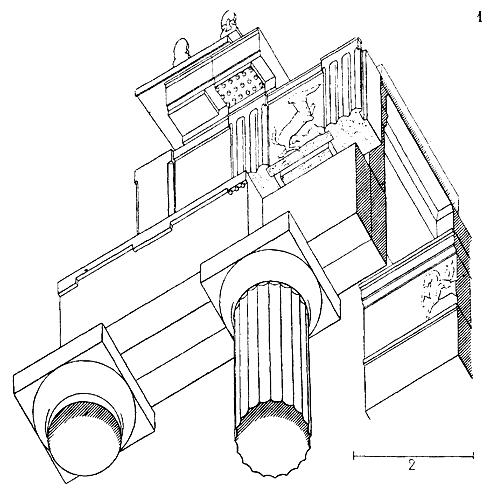 Entablement dorique où apparait une architrave à trois bandes d'après Choisy 1899