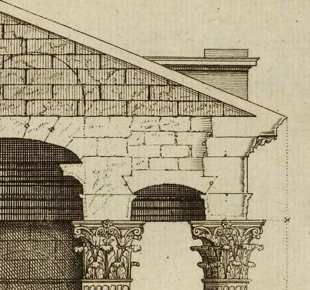 Temple de Balbec, coupe au niveau du portique d'après Marot 1727