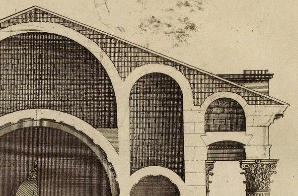 Temple de Balbec, coupe au centre d'après Marot 1727
