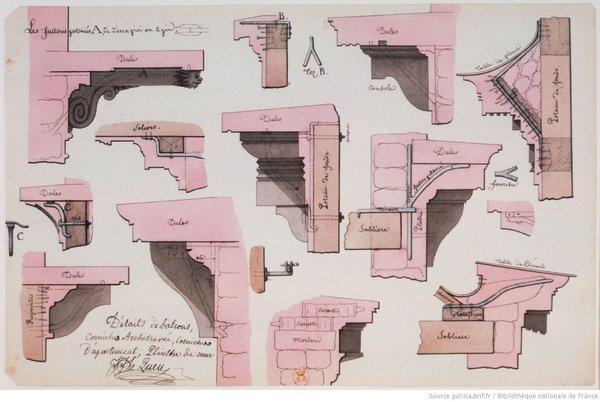 Détails de balcons, corniches architravées, corniches d'apartement, plinthe de mur d'après Lequeu 1786
