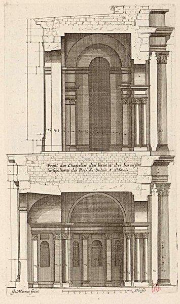 Profil des chapelles des sépultures des rois de Valois à Saint-Denis d'après Marot