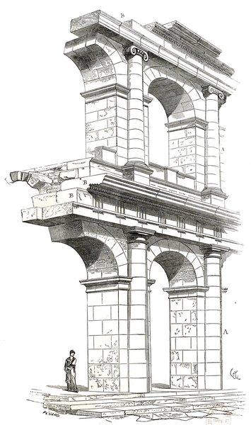 Théâtre de Marcellus à Rome d'après Viollet-le-Duc