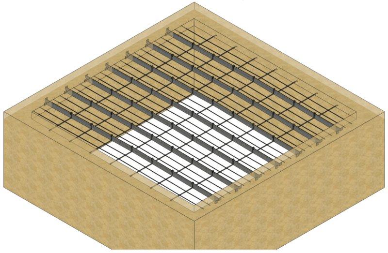 Plancher à fers méplats vue 3D