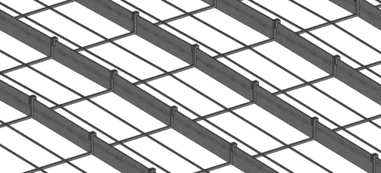Plancher à fers méplats détails des entretoises et fantons