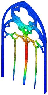 Modèle de calcul des remplages des baies des bras du transept de la cathédrale de Bayeux